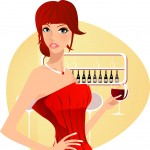 ilustracija ženske s kozarcem vina