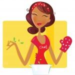 ženska s predpasnikom kuha