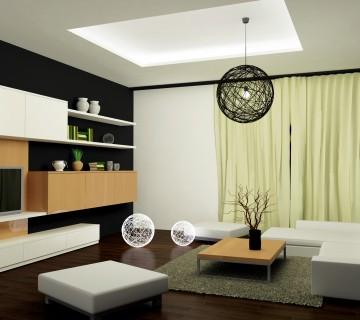 dnevna soba s črnim lestencem