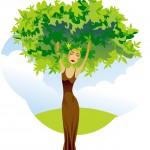 ilustracija ženske - drevesa