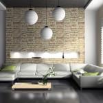 moderna dnevna soba s tremi lestenci