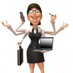 ilustracija poslovne ženske s šestimi rokami