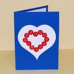 voščilnica za valentinovo z gumbki