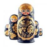 set petih modrih babušk z zlatimi rožami