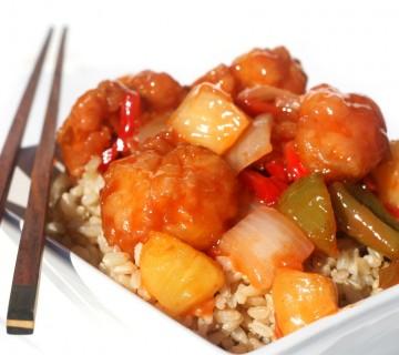 sladko - kisla svinjina na rižu