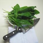 listi čemaža v skledi, poleg nož na prtičku