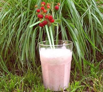 frape z jagodami in kokosovim mlekom