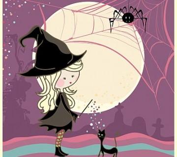 ilustracija male čarovnice in muce