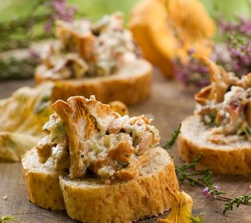 lisičke v smetani nadevane na rezino kruha