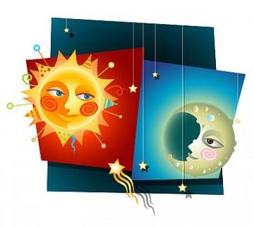 ilustracija sonca in lune