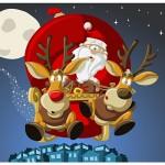 Božiček na saneh, ki jih po nebu vlečeta dva jelena - ilustracija