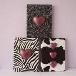 tri slike - srca na potiskanempapirju