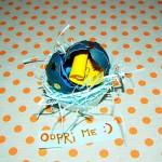 razbita okrašena jajčna lupina s sporočilom v notranjosti