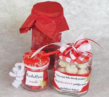 darila v kozarcih, suho sadje, bonboni in rafaello